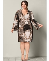 """Plus Size Printed Bodycon Dress Dresses - Multi/neutral/black"""