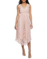 J Taylor Sleeveless Floral Lace High-Low Fit & Flare Dress, 14 , Pink