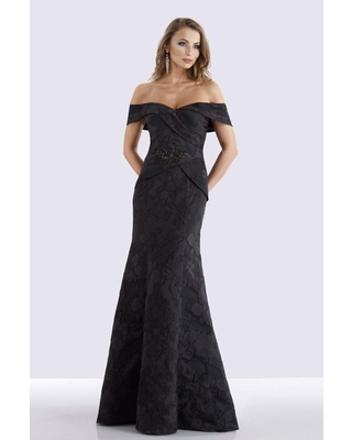 Feriani Couture - 18675 Surplice Fold over Off Shoulder Floral Gown