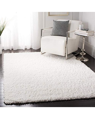 Safavieh August Shag Collection AUG200A 1.5-inch Thick Area Rug, 4' Square, White