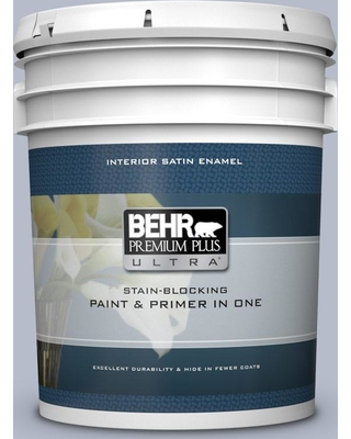 BEHR Premium Plus Ultra 5 gal. #610F-4 Silver Service Satin Enamel Interior Paint and Primer in One