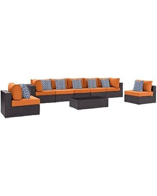 Sol 72 Outdoor™ Brentwood 8 Piece Rattan Sectional Seating Group with Cushions X111146149 Fabric: Orange