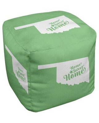 East Urban Home Home Sweet Oklahoma City Cube Ottoman EBJC3134 Upholstery Color: Green