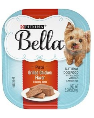 Purina Bella Grilled Chicken Flavor in Savory Juices Small Breed Wet Dog Food Trays, 3.5-oz, case of 12