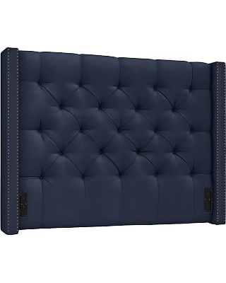 Harper Upholstered Tufted Low Headboard with Bronze Nailheads, Queen, Twill Cadet Navy