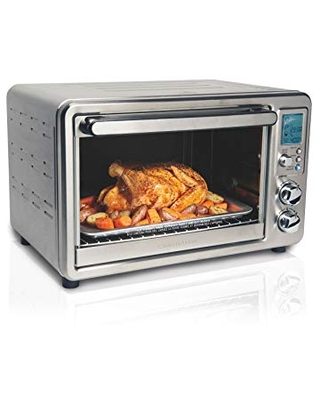 Hamilton Beach 31190C Digital Display Countertop Convection Toaster Oven with Rotisserie, Large 6-Slice, Stainless Steel