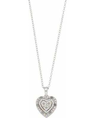 """""""Sterling Silver Diamond Accent Heart Cluster Pendant Necklace, Women's, Size: 18"""", White"""""""