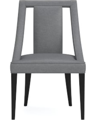 Sussex Dining Side Chair, Italian Distressed Leather, Iron, Ebony Leg