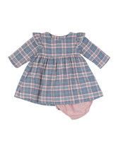 Girl's Poeme & Poesie Plaid Dress with Lace Trim in Pink, Size 3T