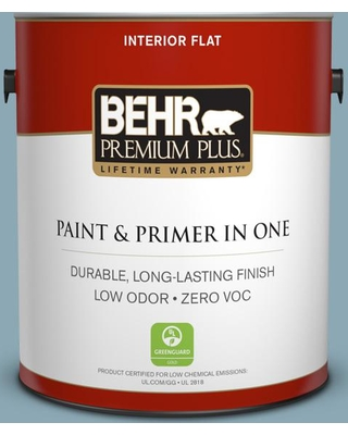 BEHR Premium Plus 1 gal. #530F-4 Newport Blue Flat Low Odor Interior Paint and Primer in One