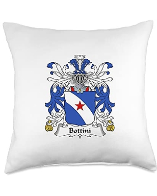 Family Crest and Coat of Arms clothes and gifts Bottini Coat of Arms - Family Crest Throw Pillow, 18x18, Multicolor