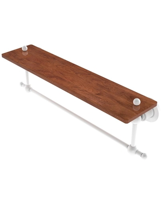 Allied Brass Astor Place Collection 22 in. Solid IPE Ironwood Shelf with Integrated Towel Bar in Matte White