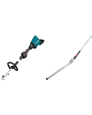 """Makita XUX01Z 18V X2 (36V) LXT Lithium-Ion Brushless Cordless Couple Shaft Power Head, Tool Only with EN401MP 20"""" Articulating Hedge Trimmer Couple Shaft Attachment"""