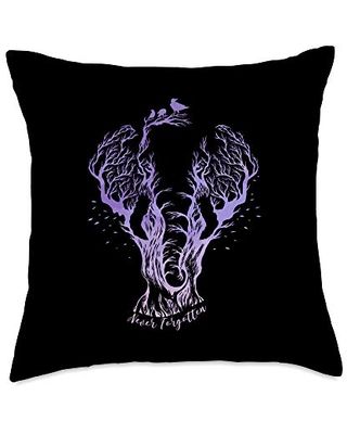 Ornate Elephant Lover Sketch Tribal Aesthetic Gift Never Forgotten Elephant Line Drawing Remembrance Tree Throw Pillow, 18x18, Multicolor