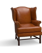 Thatcher Leather Armchair, Polyester Wrapped Cushions, Leather Legacy Dark Caramel