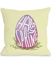 """The Holiday Aisle Happy Spring Egg Throw Pillow THLA1407 Size: 18"""" H x 18"""" W x 3"""" D"""