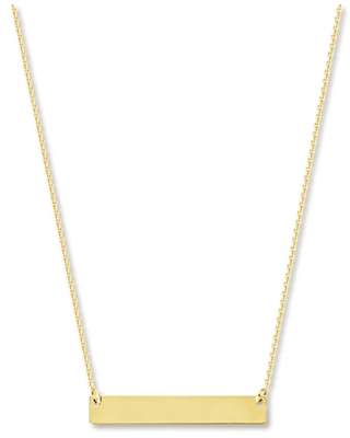 """Jared The Galleria Of Jewelry Bar Necklace 14K Yellow Gold 16-18"""" Adjustable Length"""