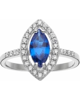 Sophie Miller Sterling Silver Lab-Created Blue Spinel & Cubic Zirconia Ring, Women's, Size: 9