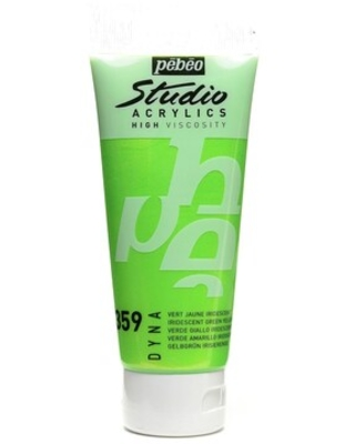 Pebeo Studio Acrylic Paint Iridescent Green/Yellow 100 Ml [Pack Of 3] (3Pack 832-359) | Quill