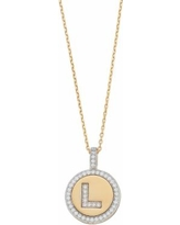 """""""14k Gold Over Silver Cubic Zirconia Initial Pendant Necklace, Women's, Size: 18"""", Yellow"""""""