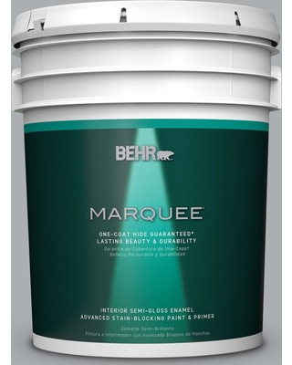BEHR MARQUEE 5 gal. #N500-3 Tin Foil One-Coat Hide Semi-Gloss Enamel Interior Paint and Primer in One