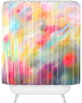 Floral Stripe Shower Curtain Red - Deny Designs