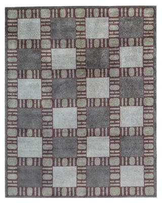 """One-of-a-Kind Hand-Knotted Gray/Red 8' x 9'11"""" Wool Area Rug"""