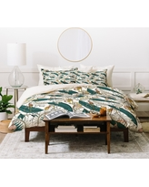 Full/Queen Floral Holli Zollinger Orchid Garden Amora Duvet Cover Set Green - Deny Designs, Brown Green