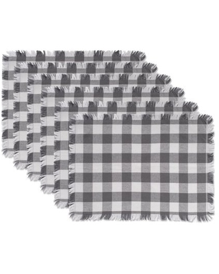 DII Gray Heavyweight Check Fringed Placemat (Set of 6)