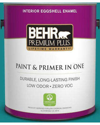 BEHR PREMIUM PLUS 1 gal. #M460-6 Thai Teal Eggshell Enamel Low Odor Interior Paint and Primer in One