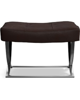 James Nickel Leather Ottoman, Tuscan Leather, Chocolate, Quick Ship