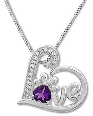 Pet Love Necklace Amethyst/White Topaz Sterling Silver