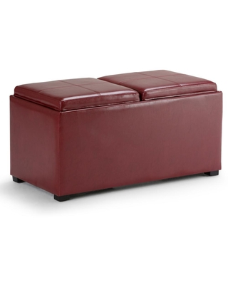 Brooklyn + Max Lincoln 35 inch Wide Contemporary Rectangle Storage Ottoman in Radicchio Red Faux Leather