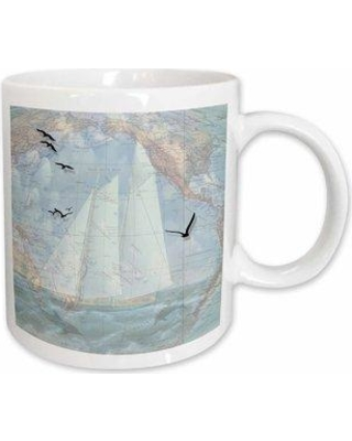 East Urban Home Map and Sailing Ship with the Ocean Seabirds and Dolphins Coffee Mug W001127360