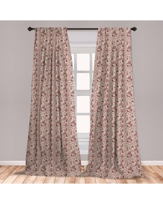 Ambesonne Floral Curtains, Blossoming Spring Meadow Pattern In Retro Style With Curly Details, Window Treatments 2 Panel Set For Living Room Bedroom D