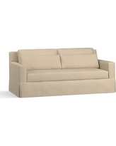 "York Square Arm Slipcovered Deep Seat Sofa 79"" with Bench Cushion, Down Blend Wrapped Cushions, Twill Parchment"