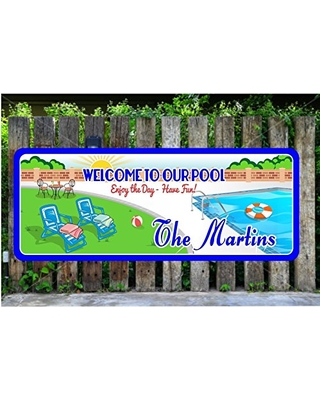 Fun Sign Factory Custom Pool Sign With Your Choice of Name & Text -  Personalized Swimming Pool Signs & Backyard Decor - Vinyl Outdoor Signs  from ...
