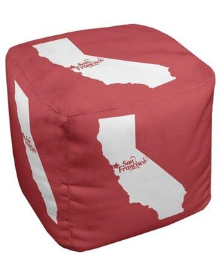 East Urban Home San Francisco California Ottoman in Cube Insert (13 x 13 x 13) EBJC3077 Upholstery Color: Red