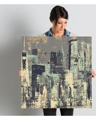"""Williston Forge 'New York New York' Graphic Art on Wrapped Canvas X111675492 Size: 26"""" H x 26"""" W x 1.5"""" D"""