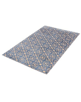 Shop Deals For Cudahy Floral Hand Knotted Dark Blue Area Rug Canora Grey