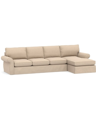 Pearce Roll Arm Slipcovered Left Arm Sofa with Chaise Sectional, Down Blend Wrapped Cushions, Performance Everydayvelvet(TM) Buckwheat