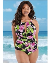 """Plus Size THE Aloha One-Piece One-Piece Swimsuits & Monokinis - Green/black/pink"""