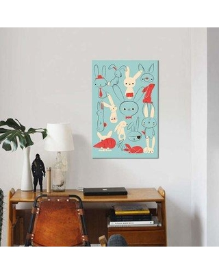 "East Urban Home 'Bunnies Blue' Graphic Art on Wrapped Canvas EBHS6374 Size: 60"" H x 40"" W x 1.5"" D"
