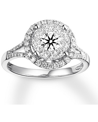 Diamond Engagement Ring 7/8 ct tw Round-cut 14K White Gold