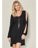 """Sleeve Detail Dress Dresses - Black"""