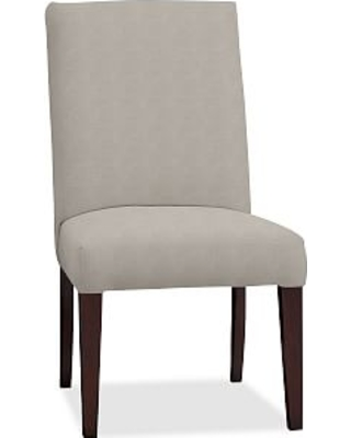 PB Comfort Square Upholstered Dining Side Chair, Performance Slub Cotton Silver Taupe
