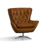 Wells Leather Swivel Armchair, Polyester Wrapped Cushions, Leather Burnished Bourbon