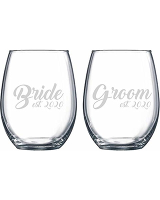 Bride and Groom Etched Stemless Wine Glass, Engagement Gift, Wedding Wine Glass, Wedding Gift, Wedding Planner, Future Mr and Mrs, Custom
