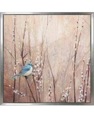 """August Grove 'Pretty Birds I' Acrylic Painting Print on Canvas BF137704 Size: 24"""" H x 24"""" W x 1"""" D Format: Floater Frame"""