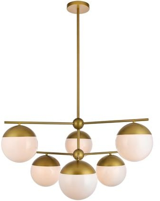 LD6144BR Eclipse 6 Light 36 inch Brass Pendant Ceiling Light With Frosted White